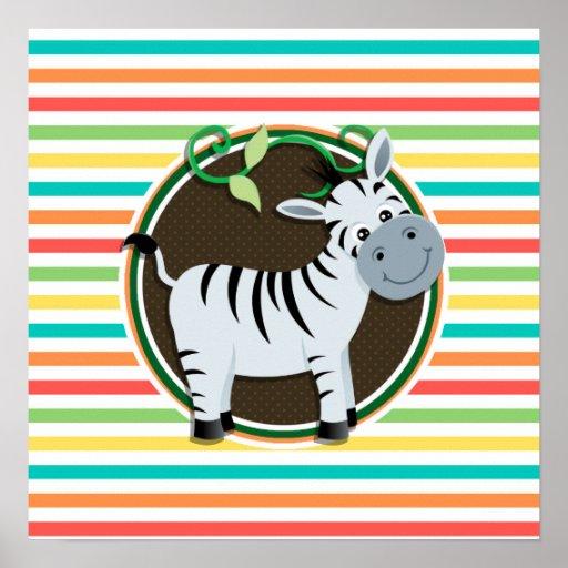 Zebra; Bright Rainbow Stripes Poster