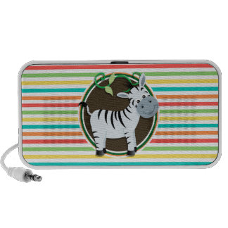 Zebra; Bright Rainbow Stripes Portable Speakers