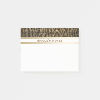 Zebra Brown Gold Sparkle Glam Trendy Personalized Post-it Notes