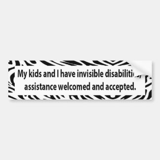 Zebra Bumper Sticker to ask for assistance