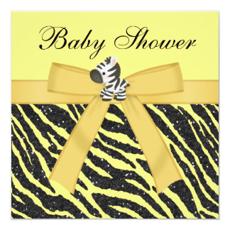 "Zebra & Butterfly Animal Print Glitter Baby Shower 5.25"" Square Invitation Card"