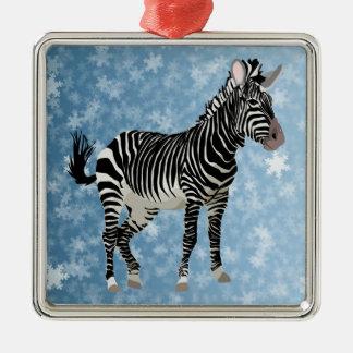 zebra christmas metal ornament
