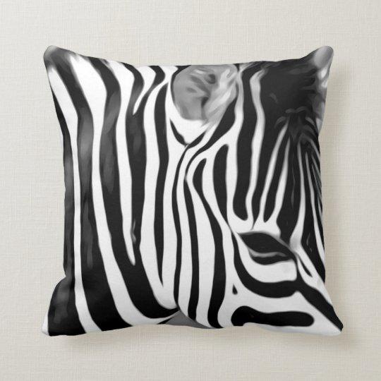 Zebra close up print throw pillow