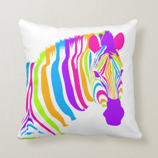 Zebra Colour Burst Throw Pillow