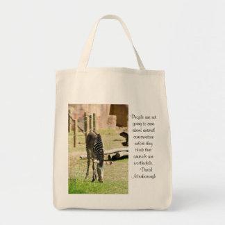 zebra conservation grocery tote bag