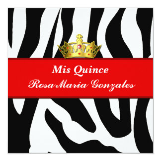Zebra Crown Quinceañera Invitation