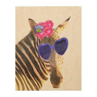 Zebra cute funny jungle animal watercolor wood print