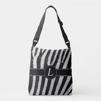 Zebra Design, Black & White With Custom Monogram Crossbody Bag