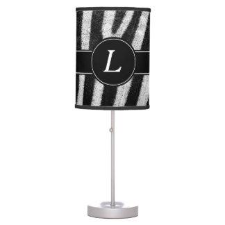 Zebra Design, Black & White With Custom Monogram Table Lamp