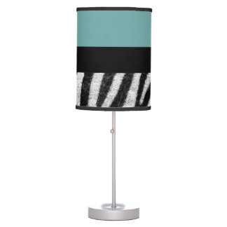 Zebra Design With Blue Color Table Lamp