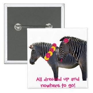 Zebra design with fun gerber daisies 2 inch square button