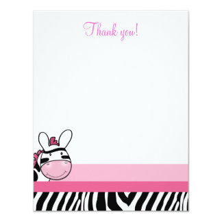 Zebra Diva Baby Pink 4x5 Flat Thank you note Card