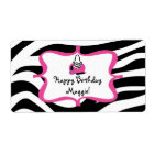 Zebra Diva Spa Birthday Water Bottle Label