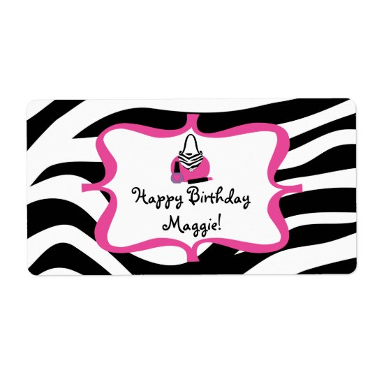 Zebra Diva Spa Birthday Water Bottle Label Shipping Label