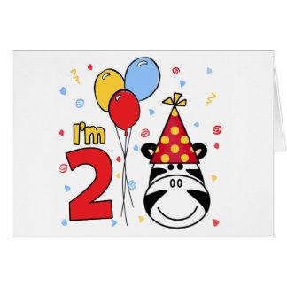 Zebra Face 2nd Birthday Invitation Note Card