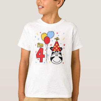 Zebra Face  4th Birthday T-Shirt