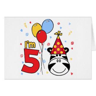 Zebra Face 5th Birthday Invitations Cards