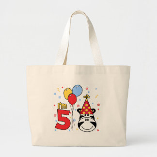 Zebra Face 5th Birthday Large Tote Bag