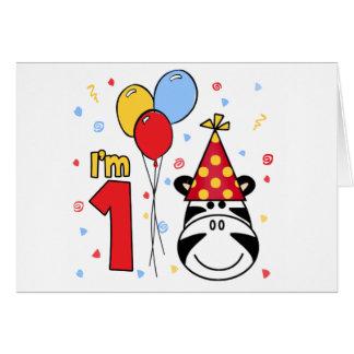 Zebra Face First Birthday Invitation Note Card