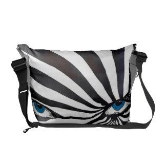 Zebra face in black and white messenger bag