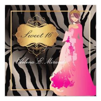 ZEBRA FAUX SILVER/Sweet 16/ Quinceañera Card