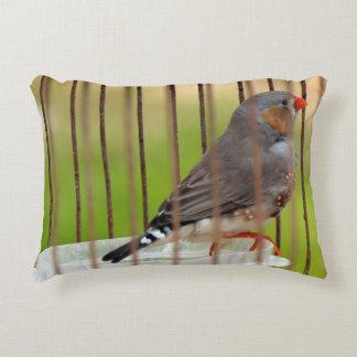 Zebra Finch Bird in Cage Accent Pillow