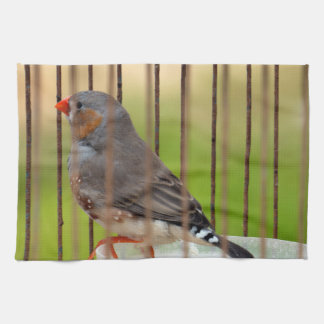 Zebra Finch Bird in Cage Kitchen Towel