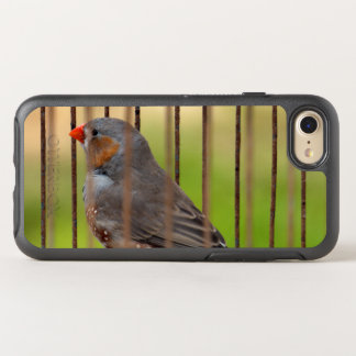 Zebra Finch Bird in Cage OtterBox Symmetry iPhone 8/7 Case