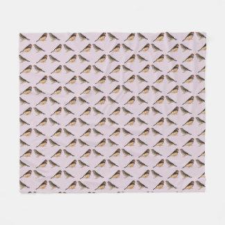 Zebra Finch Frenzy Fleece Blanket (Dusty Pink)
