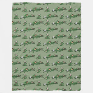 Zebra Finch Frenzy Fleece Blanket (Green)