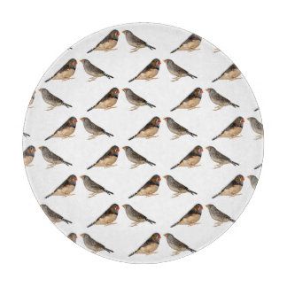 Zebra Finch Frenzy Glass Cutting Board