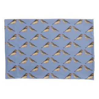 Zebra Finch Frenzy Pillowcases (Light Blue/Navy)