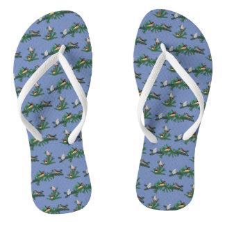 Zebra Finch Party Flip Flops (Blue)