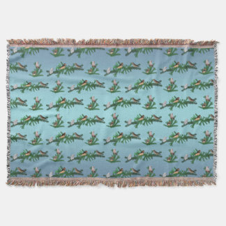 Zebra Finch Party Throw Blanket (Blue Mix)