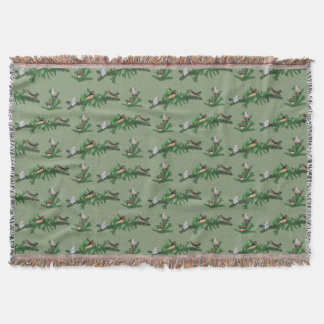 Zebra Finch Party Throw Blanket (Green)