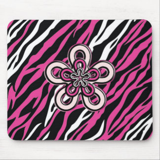 Zebra Flower - Pink & White Mouse Pad
