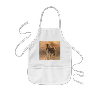 Zebra foal in morning light kids apron