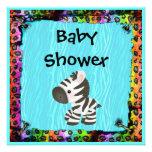 Zebra & Funky Leopard & Zebra Print Baby Shower Personalized Invitation