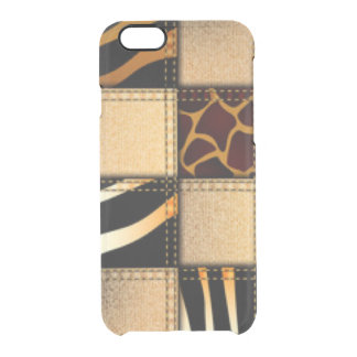 Zebra Giraffe Animal Print Jeans Collage Clear iPhone 6/6S Case