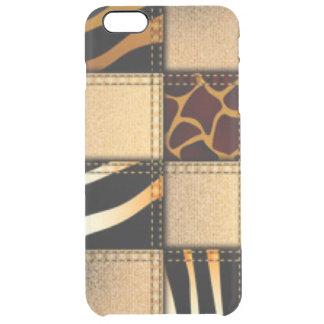 Zebra Giraffe Animal Print Jeans Collage Clear iPhone 6 Plus Case