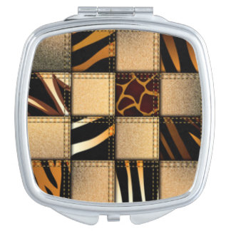 Zebra Giraffe Animal Print Jeans Collage Compact Mirrors