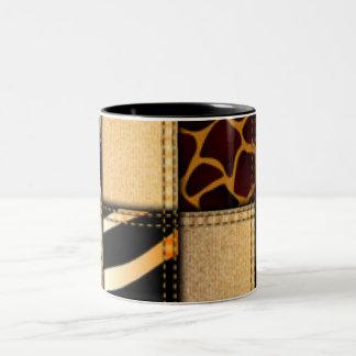 Zebra Giraffe Animal Print Jeans Collage Two-Tone Coffee Mug