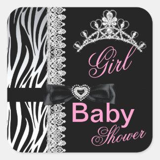 Zebra Girl Baby Shower Princess Tiara Square Sticker