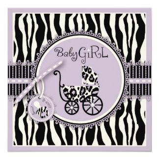 Zebra Girl Invitation Square Lilac