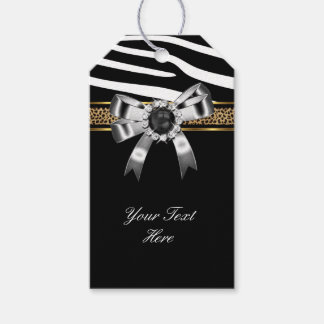 Zebra Gold Black White Leopard Pearl Gift Tags
