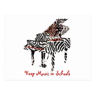 Zebra Grand Piano ~ Postcard / Invitaiton