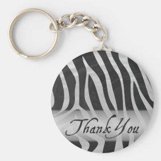 Zebra Gray and Black Pattern Thank You Keychain