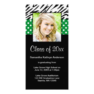 Zebra Green Polka Dot Graduation Announcement Photo Cards