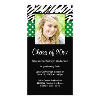 Zebra Green Polka Dot Graduation Announcement Custom Photo Card