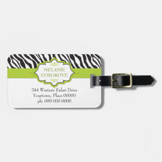Zebra Green Ribbon Luggage Tag